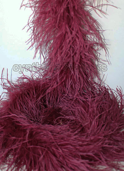"4 ply 72"" Burgundy Ostrich Feather Boa"