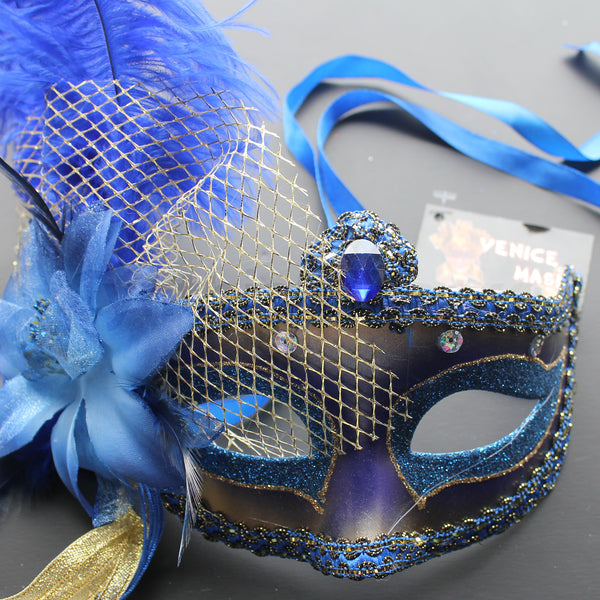 Venetian Mask, Blue  Venetian Ostrich Feather Masquerade Mask 5D3A SKU: 6F62