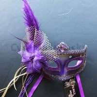 Venetian Mask, Purple  Venetian Ostrich Feather Masquerade Mask 5D7A SKU: 6E41