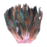 "16 Grams (0.6 ozs) 6-8"" Half Bronze Baby Pink Schlappen Coque Rooster Tail Feathers, ~100 pcs"
