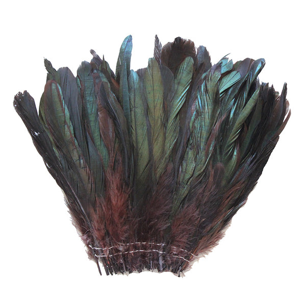 "16 Grams (0.6 ozs) 6-8"" Half Bronze Brown Schlappen Coque Rooster Tail Feathers, ~100 pcs"