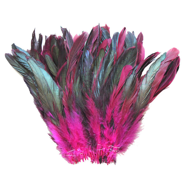 "16 Grams (0.6 ozs) 6-8"" Half Bronze Fuchsia Schlappen Coque Rooster Tail Feathers, ~100 pcs"