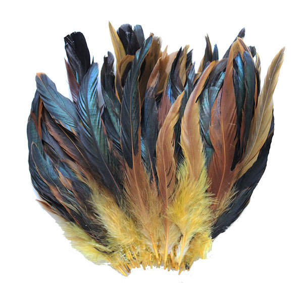 "16 Grams (0.6 ozs) 6-8"" Half Bronze Golden Yellow Schlappen Coque Rooster Tail Feathers, ~100 pcs"