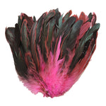 "16 Grams (0.6 ozs) 6-8"" Half Bronze Hot Pink Schlappen Coque Rooster Tail Feathers, ~100 pcs"