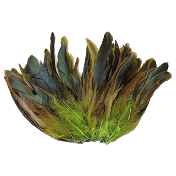 "16 Grams (0.6 ozs) 6-8"" Half Bronze Lime Green Schlappen Coque Rooster Tail Feathers, ~100 pcs"