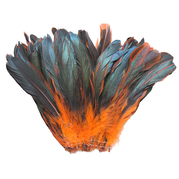 "16 Grams (0.6 ozs) 6-8"" Half Bronze Orange Schlappen Coque Rooster Tail Feathers, ~100 pcs"