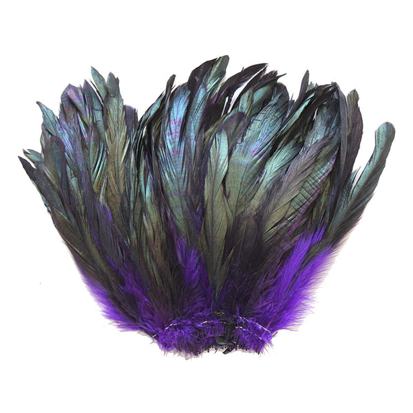 "16 Grams (0.6 ozs) 6-8"" Half Bronze Purple Schlappen Coque Rooster Tail Feathers, ~100 pcs"
