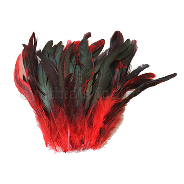 "16 Grams (0.6 ozs) 6-8"" Half Bronze Red Schlappen Coque Rooster Tail Feathers, ~100 pcs"