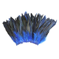 "16 Grams (0.6 ozs) 6-8"" Half Bronze Royal Blue Schlappen Coque Rooster Tail Feathers, ~100 pcs"