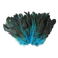 "16 Grams (0.6 ozs) 6-8"" Half Bronze Turquoise Schlappen Coque Rooster Tail Feathers, ~100 pcs"