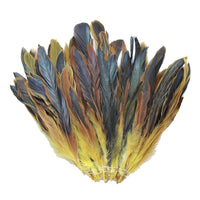"16 Grams (0.6 ozs) 6-8"" Half Bronze Yellow Schlappen Coque Rooster Tail Feathers, ~100 pcs"