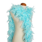 65 Grams Aqua Blue With Lurex Tinsel Chandelle Feather Boa