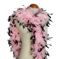 65 Grams Baby Pink With Black Tips Chandelle Feather Boa