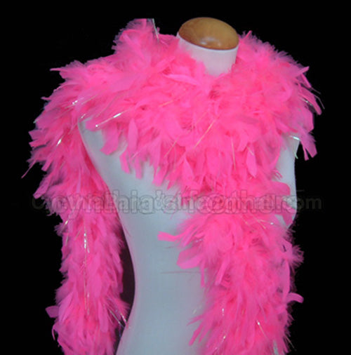 65 Grams Hot Pink With Lurex Tinsel Chandelle Feather Boa