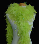 65 Grams Light Lime Green With Lurex Tinsel Chandelle Feather Boa