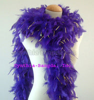 65 Grams Purple With Gold Tinsel Chandelle Feather Boa