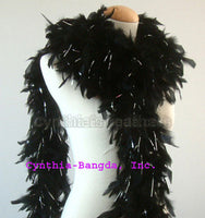 65 Grams Black With Silver Tinsel Chandelle Feather Boa