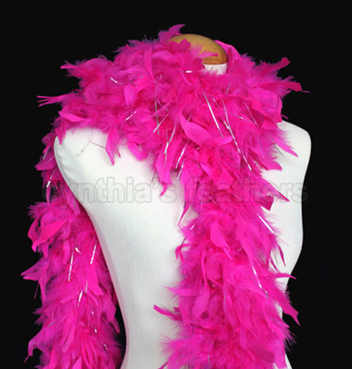 65 Grams Fuchsia With Silver Tinsel Chandelle Feather Boa