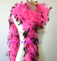 65 Grams Hot Pink with Black Tips Chandelle Feather Boa