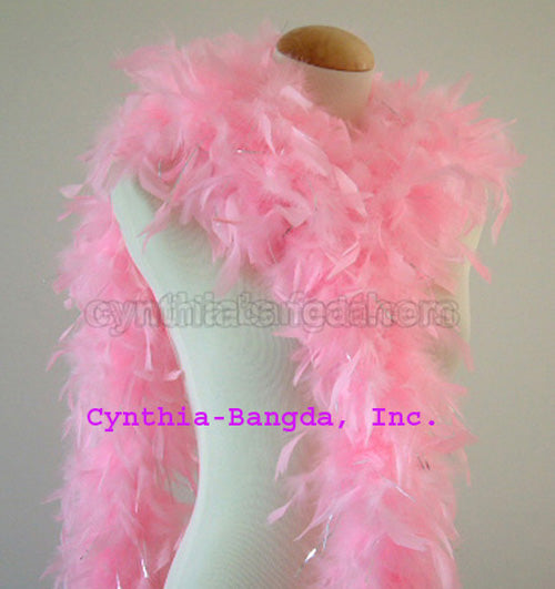 65 Grams Baby Pink With Silver Tinsel Chandelle Feather Boa