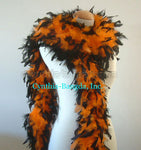 65 Grams Orange With Black Tips Chandelle Feather Boa