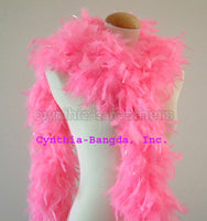 65 Grams Candy Pink With Lurex Tinsel Chandelle Feather Boa