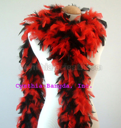 65 Grams Red/Black Mix Chandelle Feather Boa