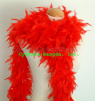 65 Grams Red With Gold Tinsel Chandelle Feather Boa