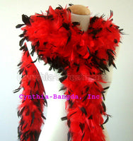 65 Grams Red With Black Tips Chandelle Feather Boa