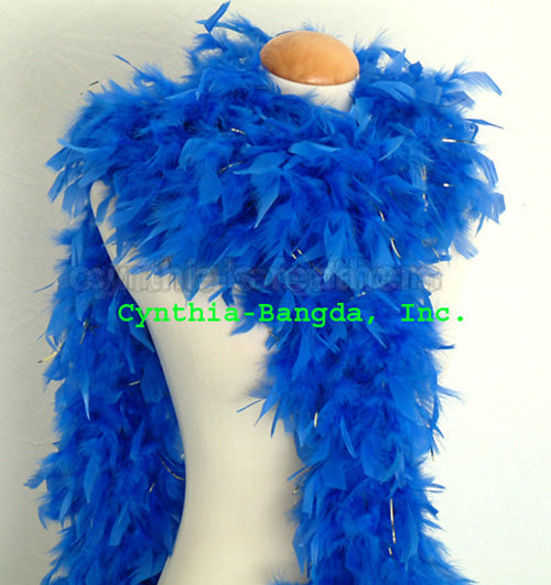 65 Grams Royal Blue With Gold Tinsel Chandelle Feather Boa