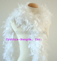 65 Grams White With Silver Tinsel Chandelle Feather Boa