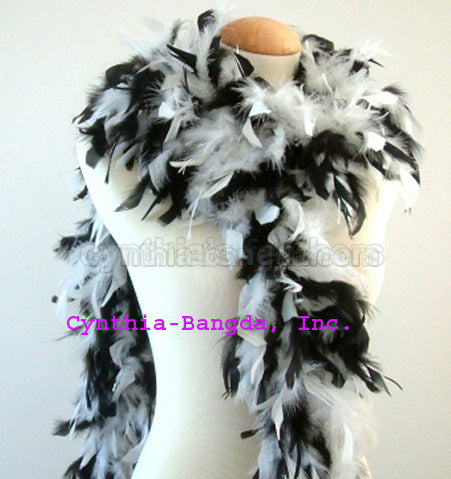 65 Grams White/Black Mix Chandelle Feather Boa