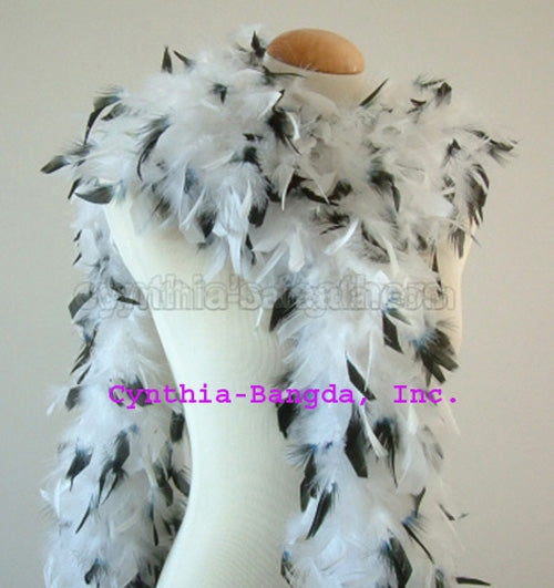 65 Grams White With Black Tips Chandelle Feather Boa