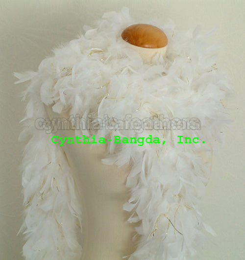 65 Grams White With Gold Tinsel Chandelle Feather Boa