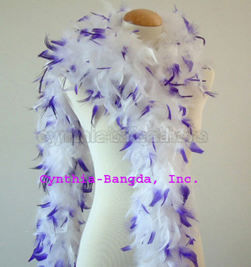 65 Grams White With Purple Tips Chandelle Feather Boa