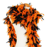 65 Grams Orange/Black Mix Chandelle Feather Boa