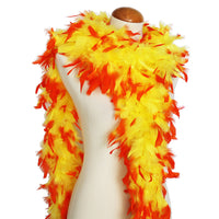 65 Grams Yellow With Orange Tips Chandelle Feather Boa