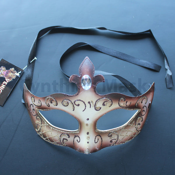 Venetian Mask, Soft Brown  Venetian  Masquerade Mask 6I10A  SKU: 6C11
