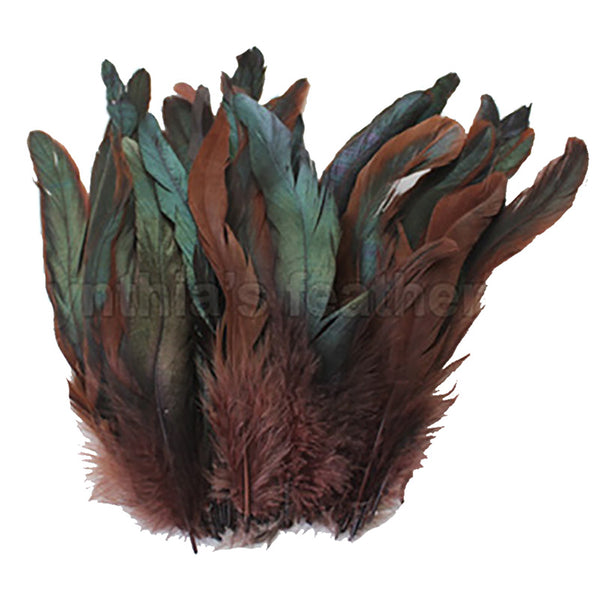 "16 Grams (0.6 ozs) 8-10"" Half Bronze Brown Schlappen Coque Rooster Tail Feathers, ~80 pcs"