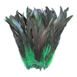 "16 Grams (0.6 ozs) 8-10"" Half Bronze Emerald Green Schlappen Coque Rooster Tail Feathers, ~80 pcs"