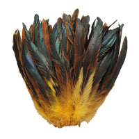 "16 Grams (0.6 ozs) 8-10"" Half Bronze Golden Yellow Schlappen Coque Rooster Tail Feathers, ~80 pcs"