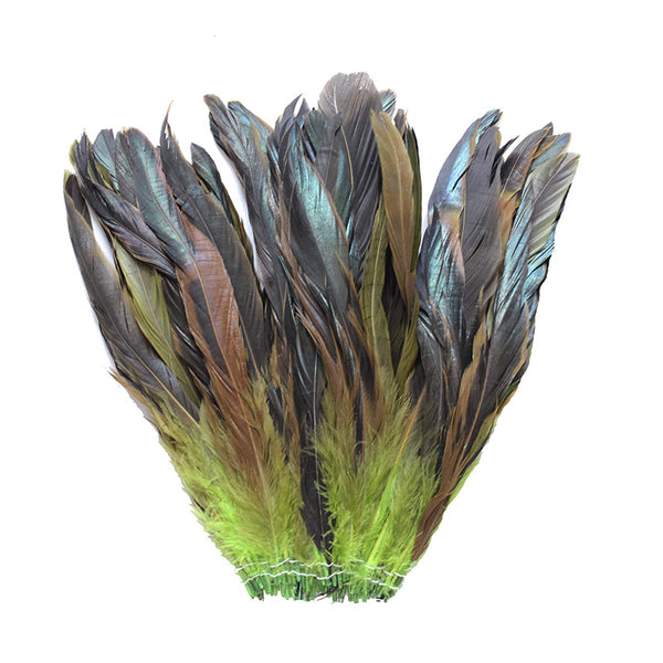 "16 Grams (0.6 ozs) 8-10"" Half Bronze Lime Green Schlappen Coque Rooster Tail Feathers, ~80 pcs"