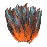 "16 Grams (0.6 ozs) 8-10"" Half Bronze Orange Schlappen Coque Rooster Tail Feathers, ~80 pcs"