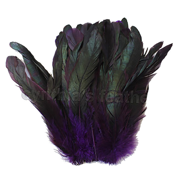 "16 Grams (0.6 ozs) 8-10"" Half Bronze Purple Schlappen Coque Rooster Tail Feathers, ~80 pcs"