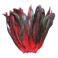 "16 Grams (0.6 ozs) 8-10"" Half Bronze Red Schlappen Coque Rooster Tail Feathers, ~80 pcs"