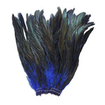 "16 Grams (0.6 ozs) 8-10"" Half Bronze Royal Blue Schlappen Coque Rooster Tail Feathers, ~80 pcs"