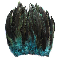 "16 Grams (0.6 ozs) 8-10"" Half Bronze Teal Schlappen Coque Rooster Tail Feathers, ~80 pcs"