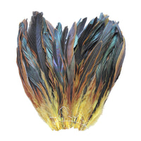 "16 Grams (0.6 ozs) 8-10"" Half Bronze Yellow Schlappen Coque Rooster Tail Feathers, ~80 pcs"