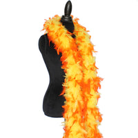 80 Grams Yellow With Orange Tips Chandelle Feather Boa