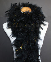 80 Grams Black With Gold Tinsel Chandelle Feather Boa